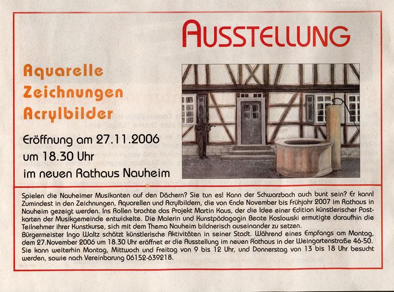 Artikel im Nauheimer-Gemeindespiegel zur Ausstellung im Rathaus Nauheim 2006