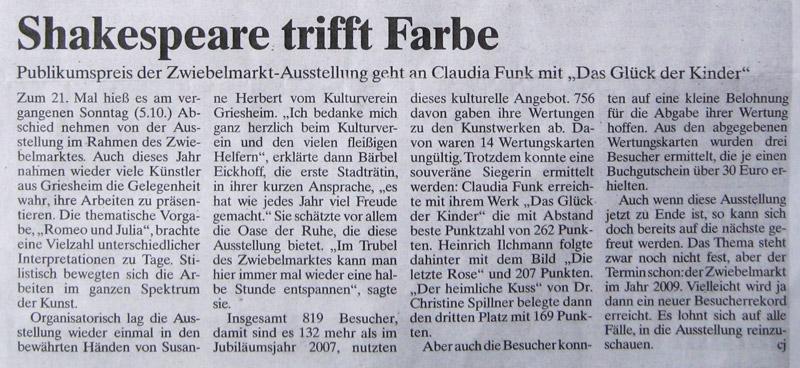 Artikel Griesheimer Anzeiger Zwiebelmarkt 2008