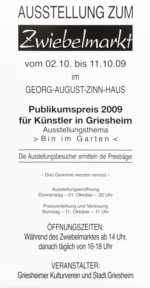 Plakat Zwiebelmarkt 2009