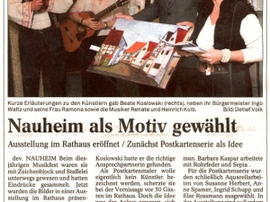 Artikel in der Mainspitze zur Ausstellung im Rathaus Nauheim 2006