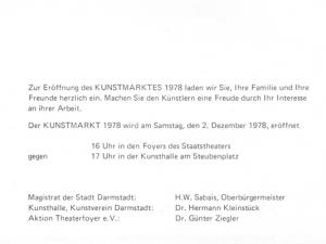 Darmstädter Kunstmarkt, 1978 Flyer 3