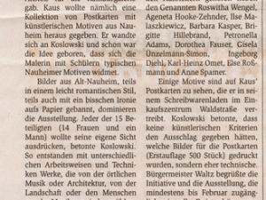 Artikel im Rüsselsheimer Echo zur Ausstellung im Rathaus Nauheim 2006