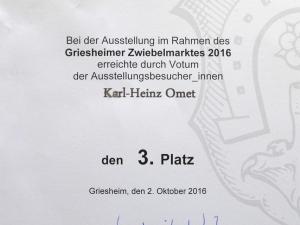 Urkunde zum 3. Platz, Zwiebelmarkt 2016